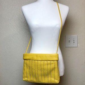 Vintage Etienne Aigner Woven Yellow Crossbody Bag